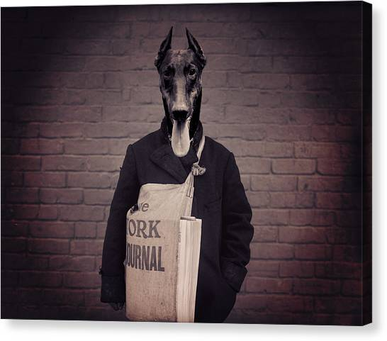 Doberman Pinschers Canvas Print - Doberman Paperboy by Aged Pixel