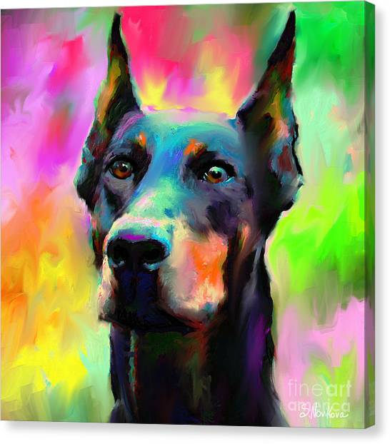 Breed Canvas Print - Doberman Pincher Dog Portrait by Svetlana Novikova