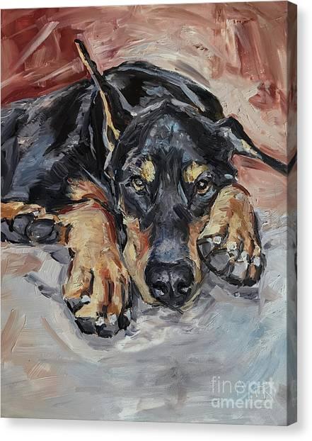 Doberman Pinschers Canvas Print - Doberman Pinscher by Maria's Watercolor