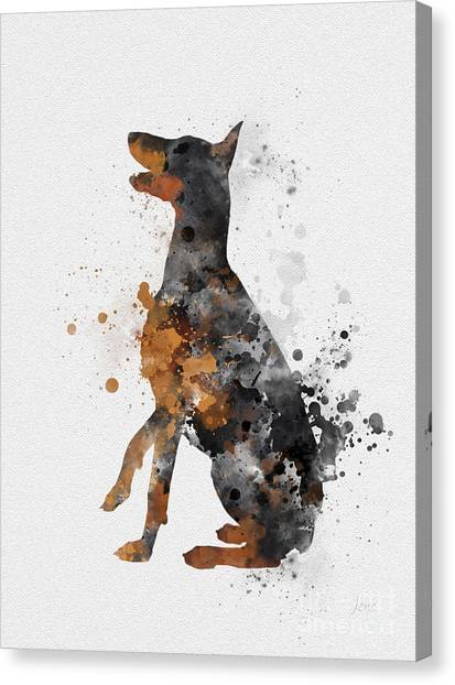 Doberman Pinschers Canvas Print - Doberman Pinscher by Rebecca Jenkins