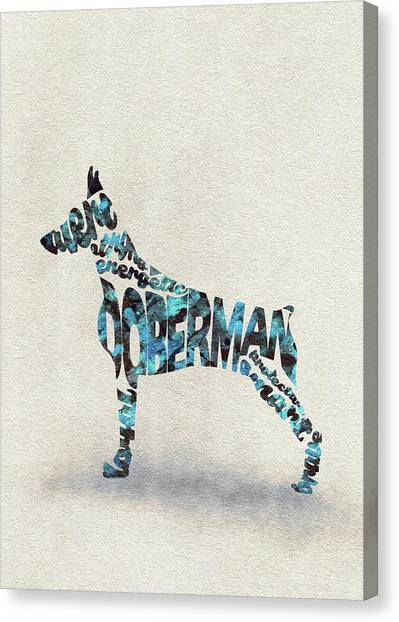 Doberman Pinschers Canvas Print - Doberman Pinscher Watercolor Painting / Typographic Art by Inspirowl Design
