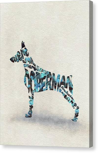 Doberman Pinschers Canvas Print - Doberman Pinscher Watercolor Painting / Typographic Art by Inspirowl Design