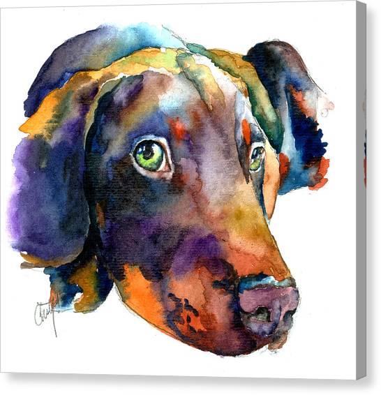 Prairie Dogs Canvas Print - Doberman Watercolor by Christy  Freeman
