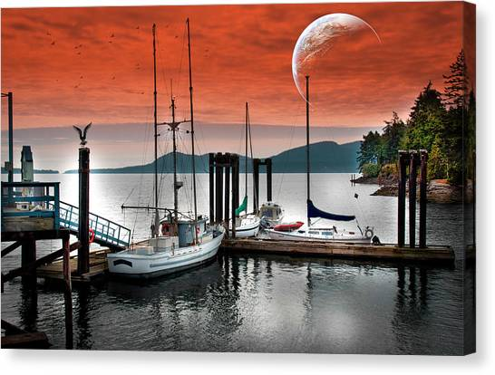 Dock And The Moon Canvas Print