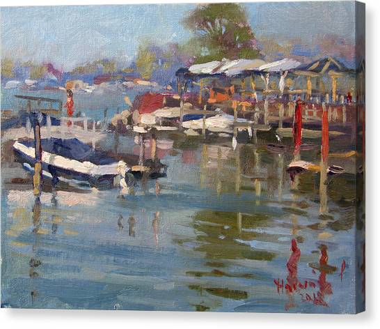 Dock Canvas Print - Dock In North Tonawanda by Ylli Haruni