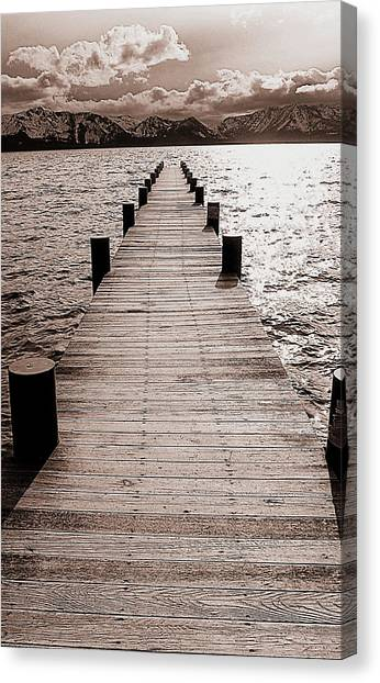 Dock Of Lake Tahoe With Views Of Mount Tallac Canvas Print