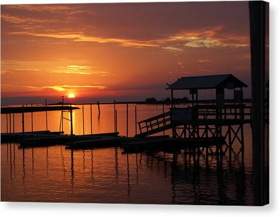 Dock Of The Bay Canvas Print by Debbie May