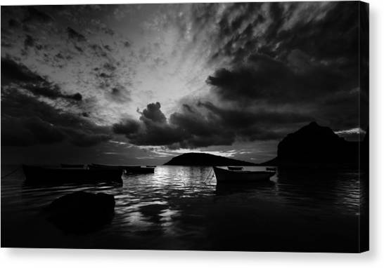 Docked At Dusk Canvas Print
