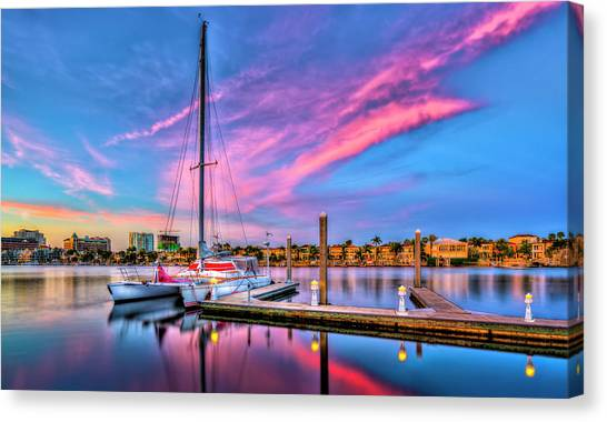 Catamarans Canvas Print - Docked At Twilight by Marvin Spates