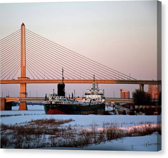 Docked Under The Glass City Skyway  Canvas Print