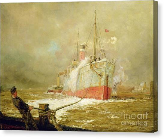 Fishing Boats Canvas Print - Docking A Cargo Ship by William Lionel Wyllie