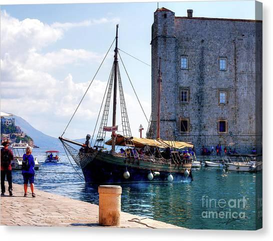 Docking In Dubrovnik Harbour Canvas Print
