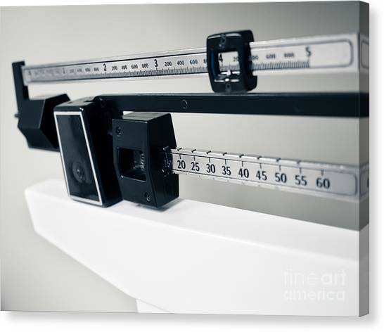 Balance Beam Canvas Print - Doctor's Sliding Weight Balance Beam Scale by Paul Velgos