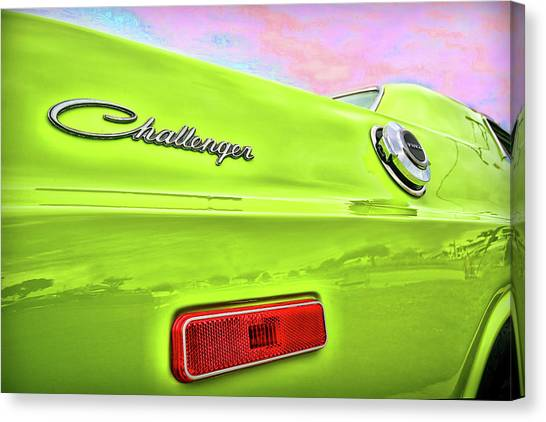 Turn Signals Canvas Print - Dodge Challenger In Sublime Green by Gordon Dean II