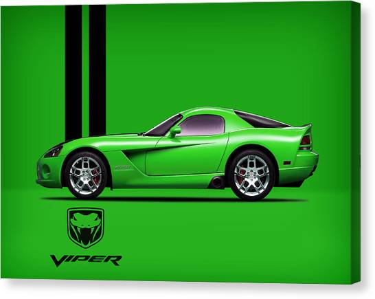 Vipers Canvas Print - Dodge Viper Snake Green by Mark Rogan