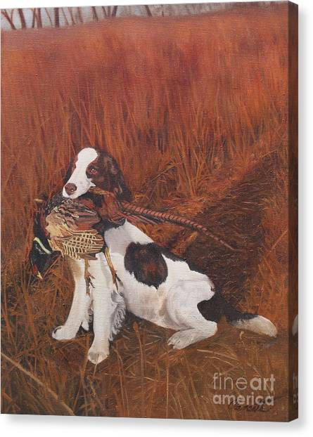 Dog And Pheasant Canvas Print