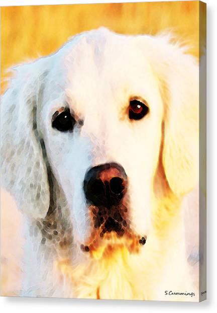 Golden Retrievers Canvas Print - Dog Art - Golden Moments by Sharon Cummings