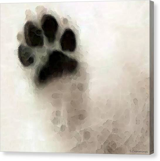 Canvas Print featuring the painting Dog Art - I Paw You by Sharon Cummings