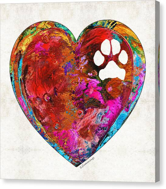 Pit Bull Canvas Print - Dog Art - Puppy Love 2 - Sharon Cummings by Sharon Cummings