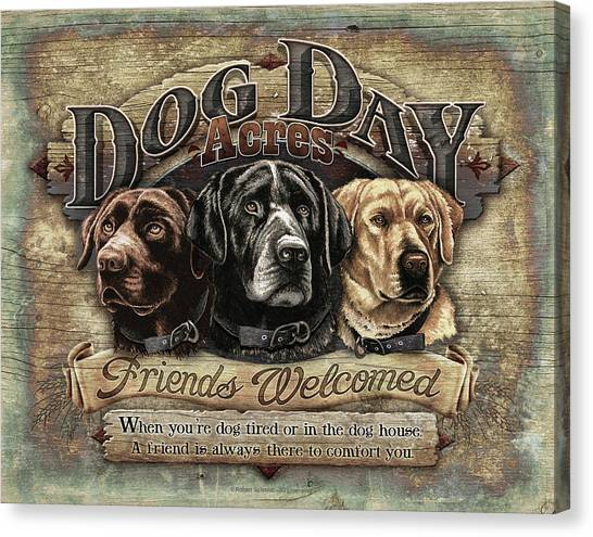 Yellow Lab Canvas Print - Dog Day Acres Sign by JQ Licensing
