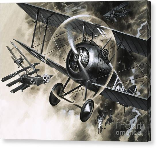 Biplane Canvas Print - Dog Fight Between British Biplanes And A German Triplane by Wilf Hardy