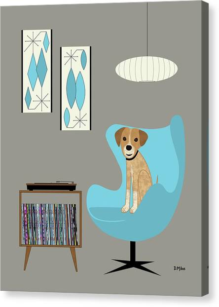 Dog In Egg Chair Canvas Print