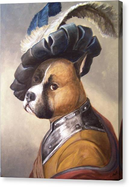 Dog In Gorget And Cap Canvas Print