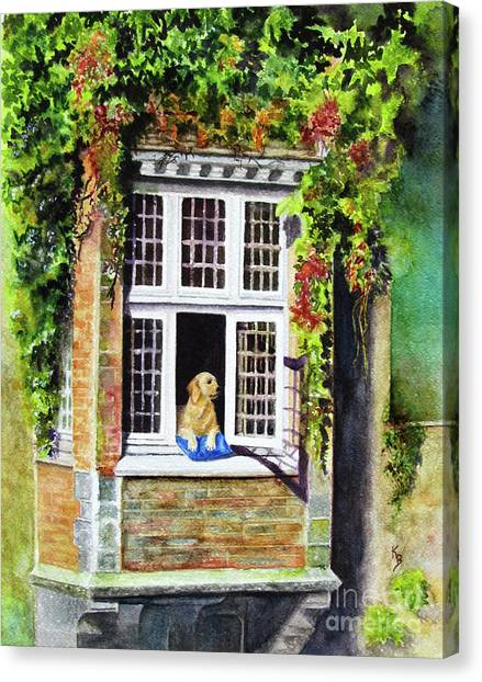 Dog In The Window Canvas Print