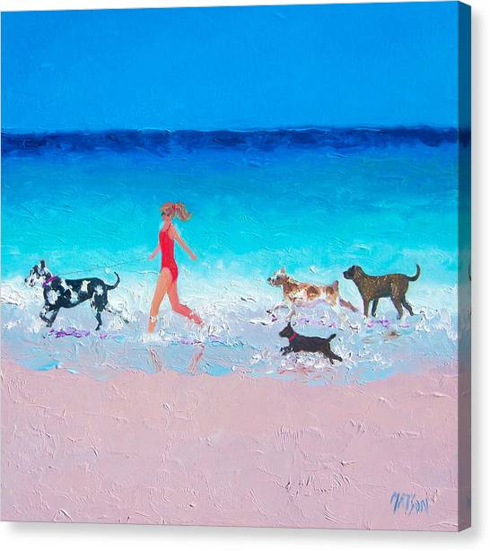 Summer Holiday Canvas Print - Dog Jog by Jan Matson