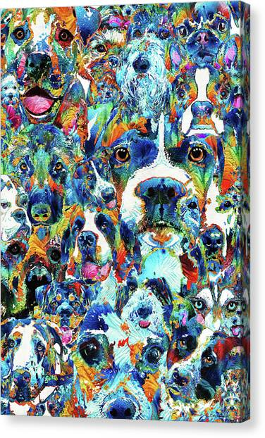Pit Bull Canvas Print - Dog Lovers Delight - Sharon Cummings by Sharon Cummings