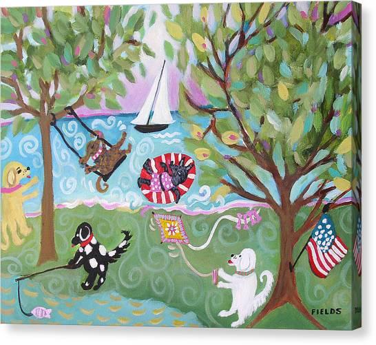 Dog Park Dog Hangout Canvas Print by Karen Fields