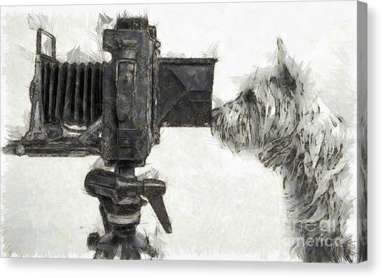 Tiki Canvas Print - Dog Photographer Pencil by Edward Fielding