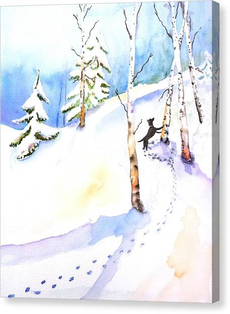 Dogs In Snow Canvas Print - Dog Play In Snow Forest by Carlin Blahnik CarlinArtWatercolor