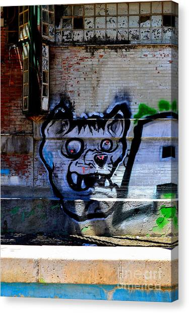 Dog River         ' Graffiti ' Canvas Print by Urban Artful