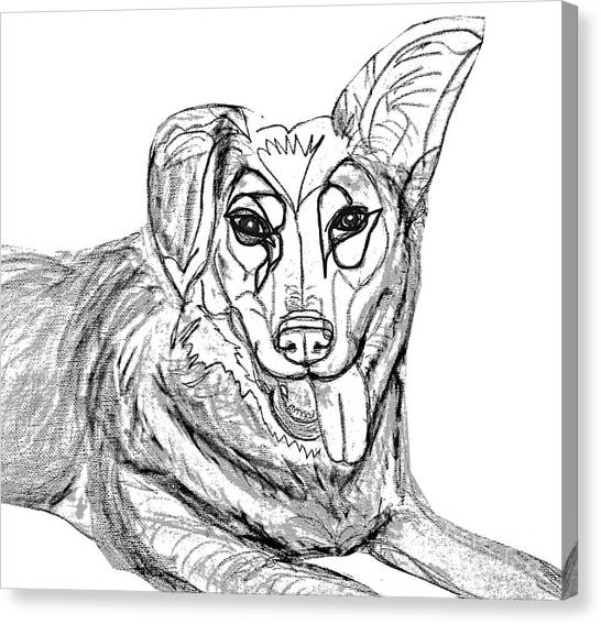 Ania Milo Canvas Print - Dog Sketch In Charcoal 1 by Ania Milo