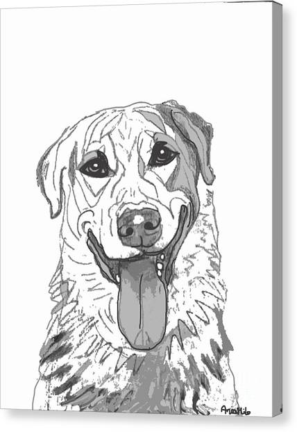 Ania Milo Canvas Print - Dog Sketch In Charcoal 2 by Ania M Milo