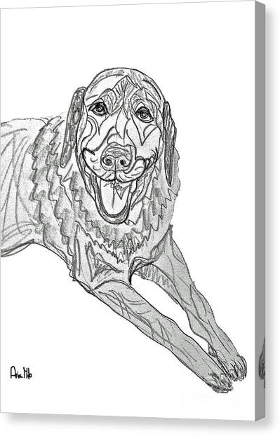 Ania Milo Canvas Print - Dog Sketch In Charcoal 9 by Ania M Milo