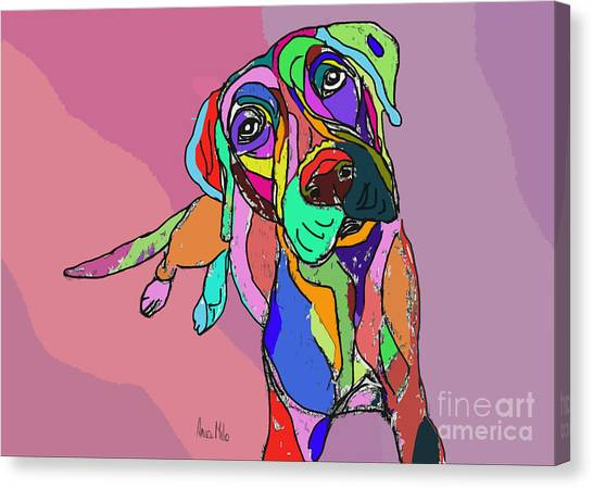 Dog Sketch Psychedelic  01 Canvas Print