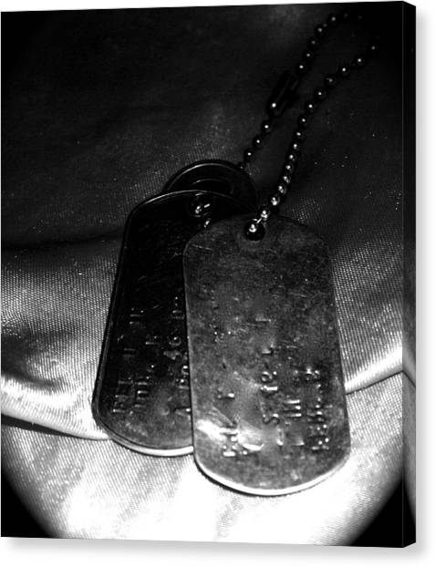 Dog Tags In Black And White Canvas Print by Aimee Galicia Torres
