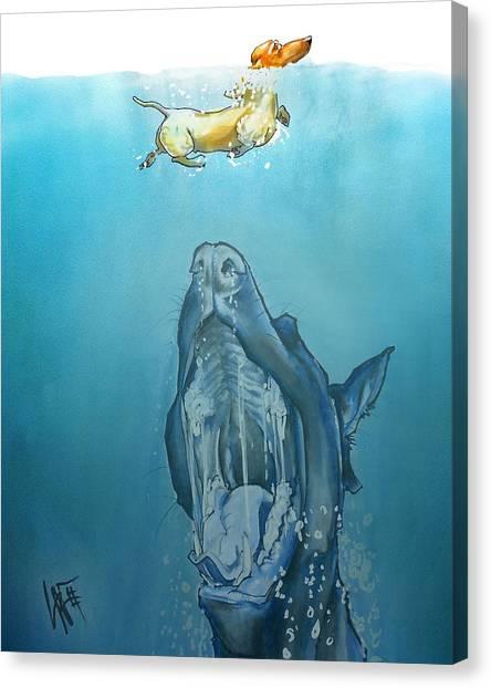 Dog-themed Jaws Caricature Art Print Canvas Print
