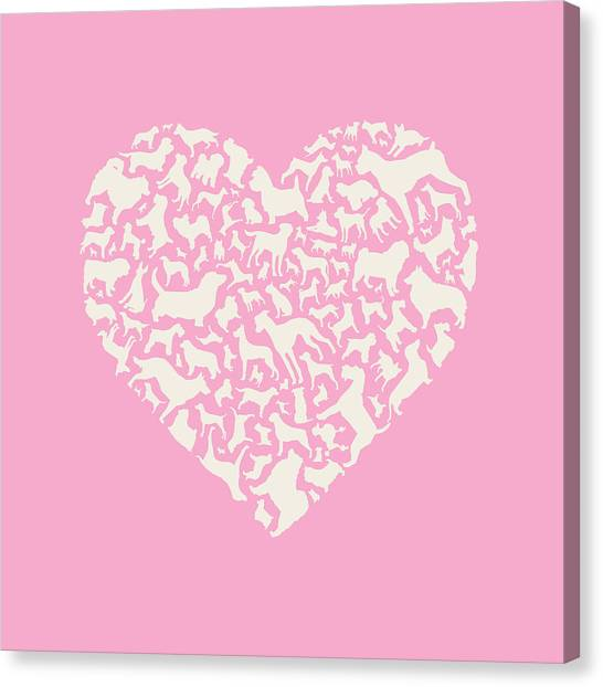 Boxers Canvas Print - Dog Valentine by Mitch Frey