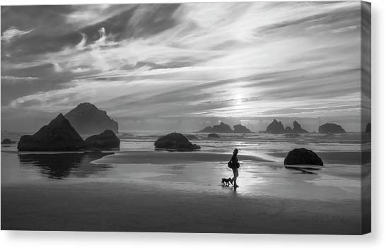 Dog Walker Bw Canvas Print