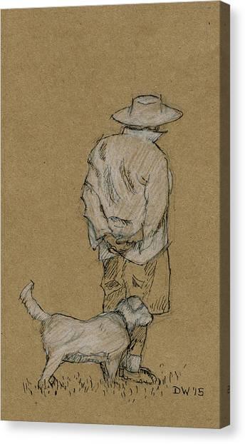 Dog Walker Plein Air Canvas Print