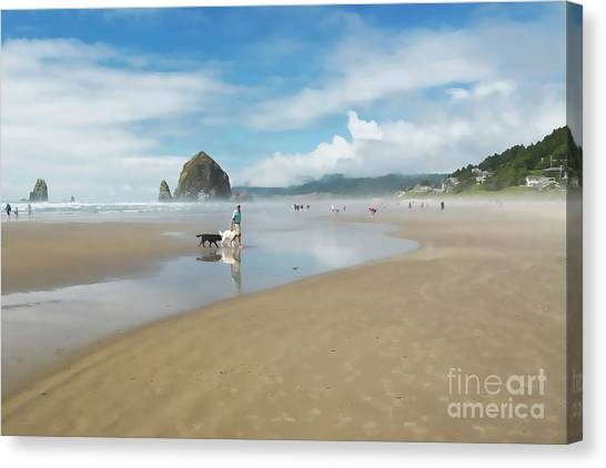 Dog Walking At Cannon Beach Canvas Print