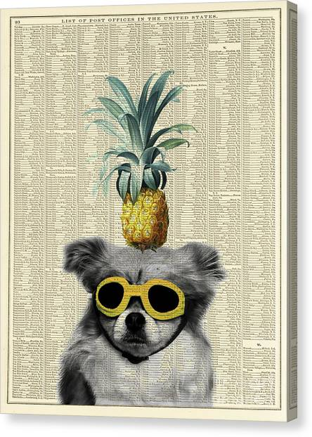 Aviators Canvas Print - Dog With Goggles And Pineapple by Delphimages Photo Creations