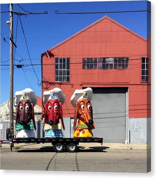 Canvas Print - Doggie Diner Heads by Julie Gebhardt