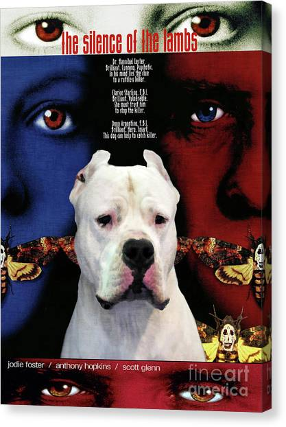Silence Of The Lambs Canvas Print - Dogo Argentino Art Canvas Print - The Silence Of The Lambs Movie Poster by Sandra Sij