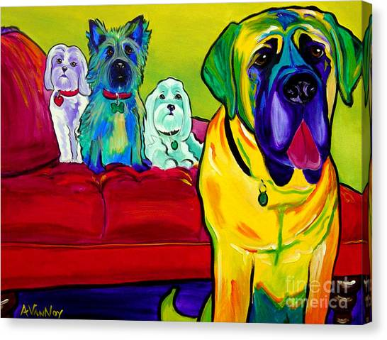 Maltese Canvas Print - Dogs - Droolers Get The Floor by Alicia VanNoy Call