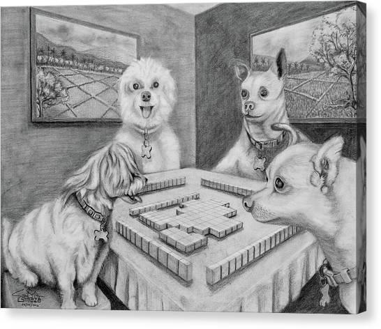 Dogs Playing Mahjong Canvas Print