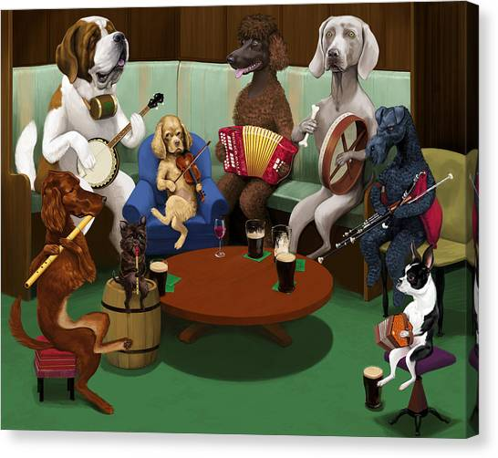 Weimaraners Canvas Print - Dogs Playing Traditional Irish Music by Jon Hammer